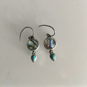 Fossil Mini Drop Earrings Silver and Turquoise